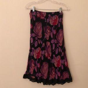 Betsey Johnson Floral Silk Skirt